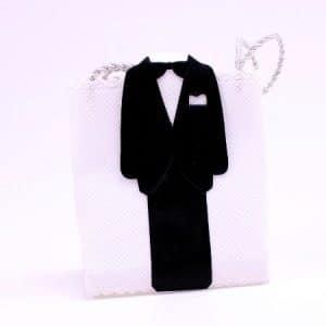 Favor gaveæske Brudgom - Hvid og sort - 8 cm