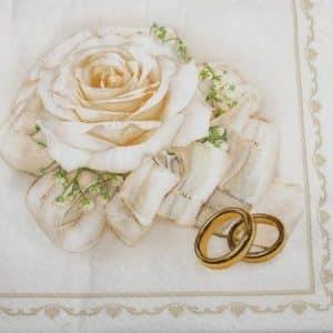 Frokostserviet - 20 stk. - 33 x 33 cm - Bryllup ringe og rose