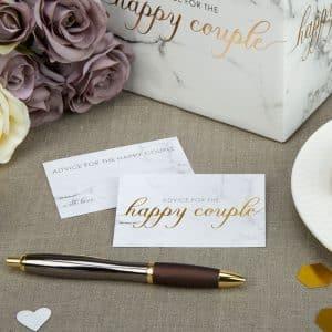 Marmor Bryllups Lykkeønskningskort