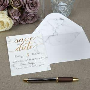Marmor ''Save The Date'' Kort med Kuverter