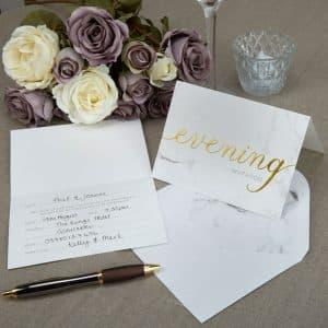 Marmor bryllups invitationer med kuverter