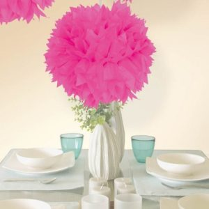 Pompom Dekoration, Neon Pink