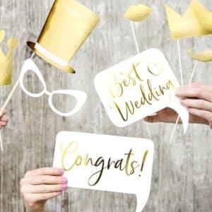 Wedding photo props, mix (1 pkt / 10 pc.)